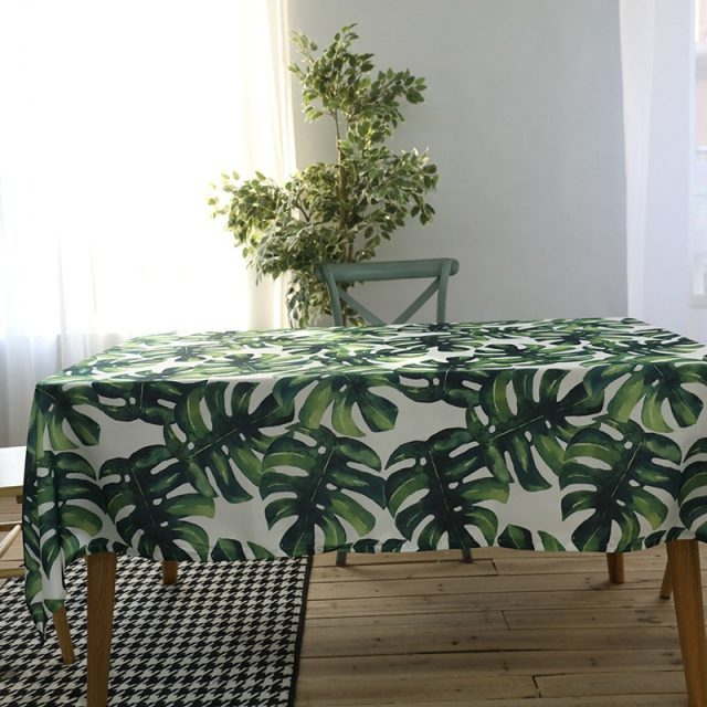 Palms Printed Cotton Tablecloth for Kitchen Decor