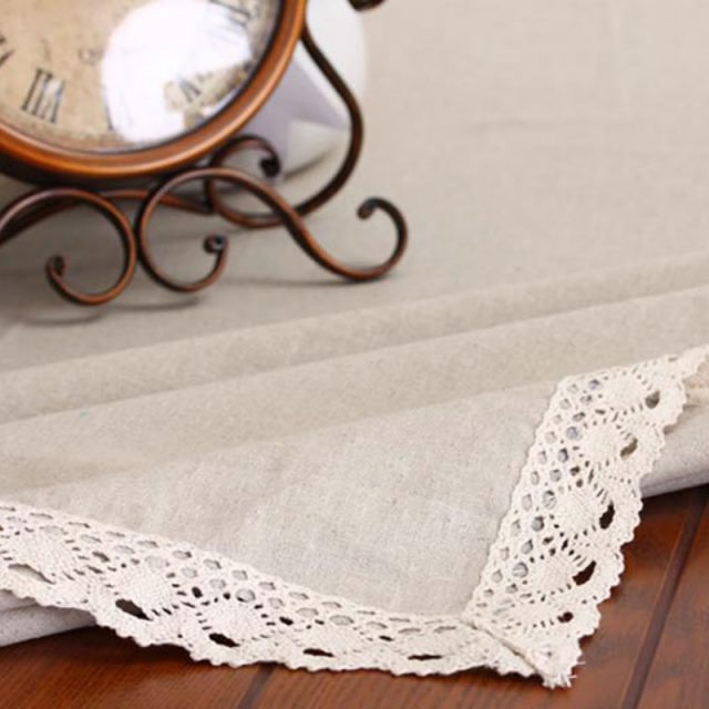 Rustic Style Lace Trimmed Linen Tablecloths