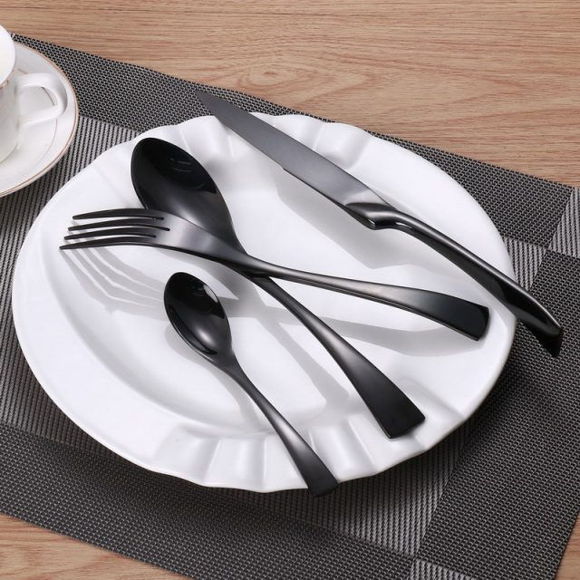 Black Color Stainless Steel Dinnerware Sets